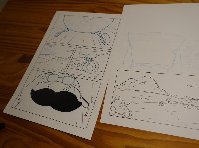 Mini-Comic first panels progress plane inking character design moustache cartoon comic illustration