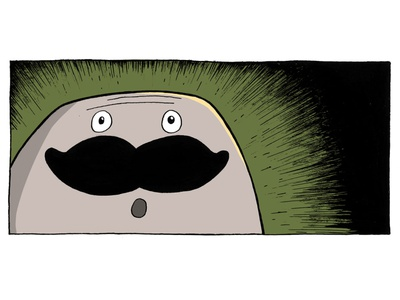 Comic 3.2 moustache comic inking painting procreate cartoon character design illustration