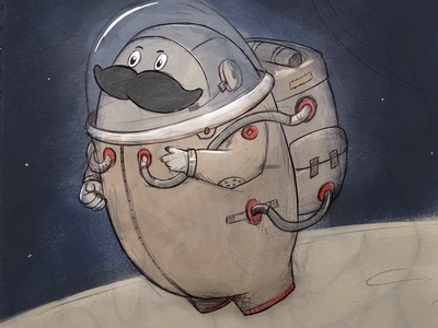 Herman in space graphic drawing illustration space