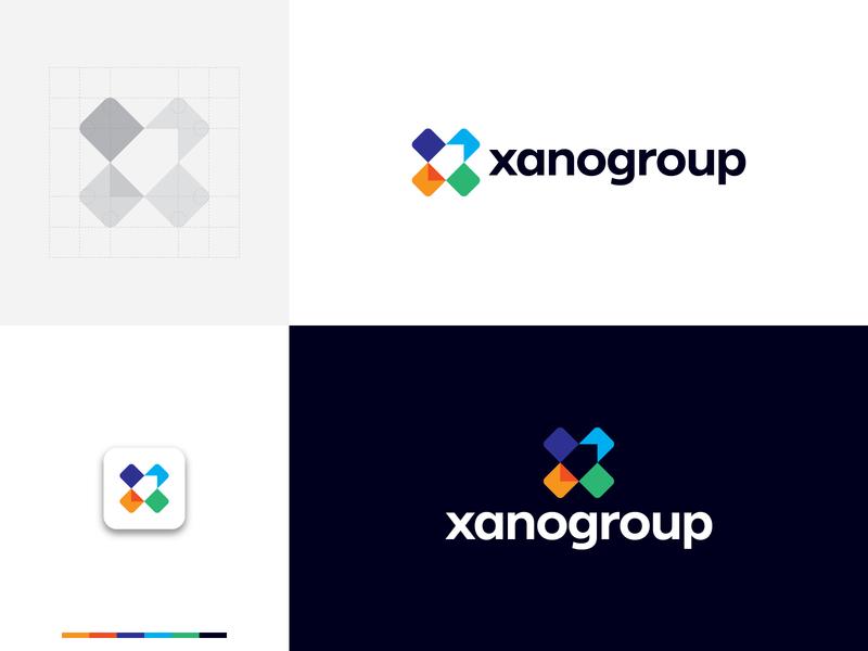 XanoGroup Logo network connect start-up launch innovation square geometric arrow development community group rocket x letter letter x colorful tech technology logo