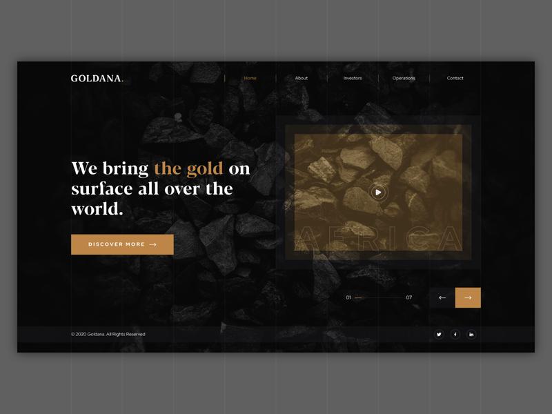 Goldana Landing Page corporate black golden wealth technology dark investment mine gold ux design ui user interface web page website web landing page