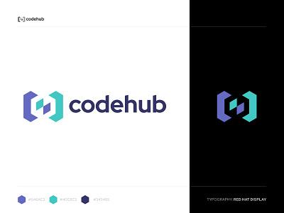 Code Hub Logo connect community nucleus core brackets link data software technology tech hexagonal hexagon cube digital hub developer colorful logo coding code