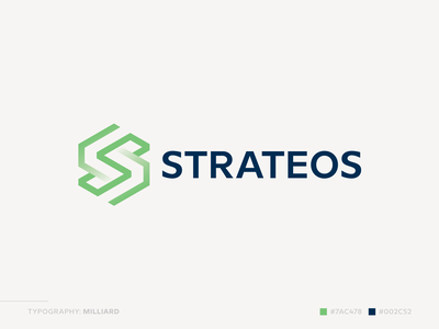 Strateos Logo brand technology tech synergy sync symmetry spiral software s letter network logo letter s letter infinite hexagon geometric endless double construction connect