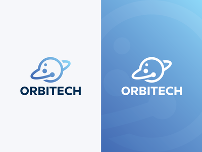 Orbit Tech Logo gravitation gravity technology tech space software science satellite rocket planet orbit orb network identity brand logo galaxy fly elipse aerospace