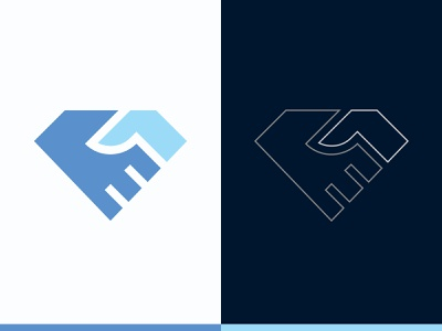Diamond Deal Logo branding business finance brand identity wealth treasure stone mining mine luxury logo jewellery handshake hand gemstone diamond deal contract agreement adamant
