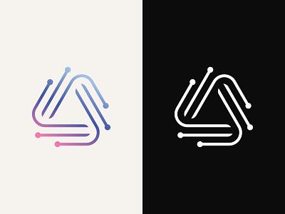 Acuratech Logo Design development data connection sync geometric alpha circuit dot triple triangle software network synergy technology tech advance identity brand branding logo