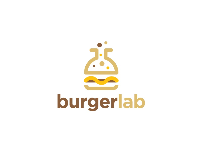 Burger Lab Logo mustard restaurant meal meat lunch logo laboratory lab hamburger grill gourmet gastronomy food fast food dinner cheese burger bread beef barbecue