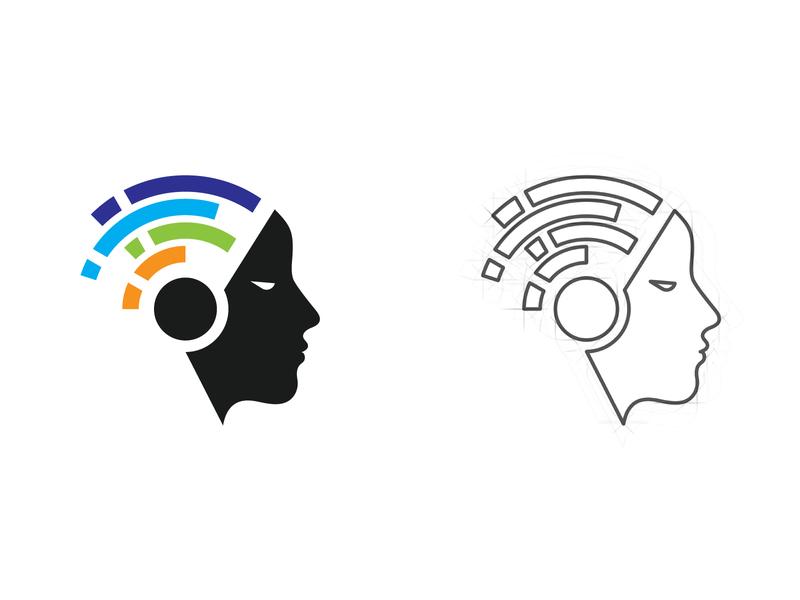 Digital Mind Logo virtual reality technology tech science research neurons neurology network mind logo human headphones head digital data cyborg colorful brain audio artificial