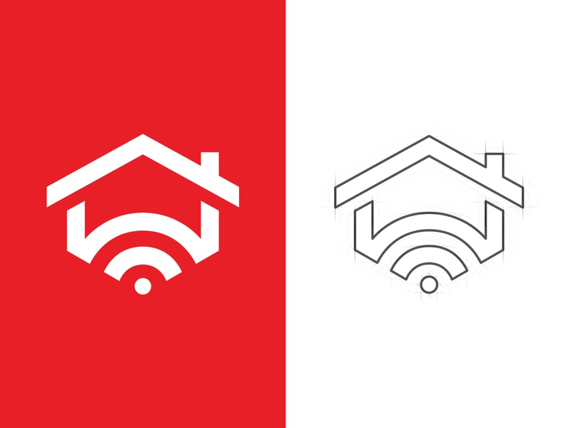 Home Alarm Logo protection wifi wave technology system software signal security safe router roof modem logo internet house home dot connect arrow alarm