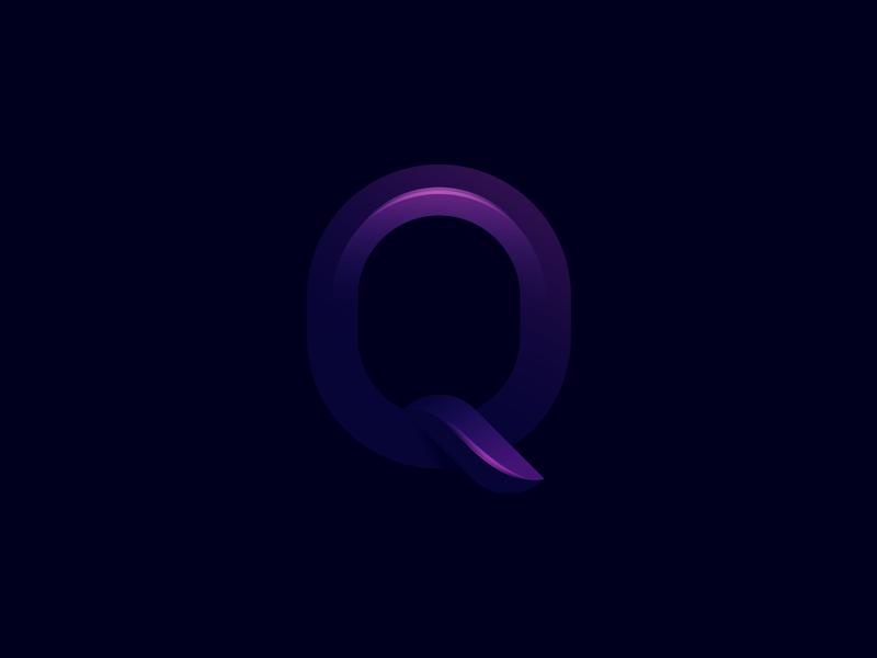 Q round geometric luxury software letter quality pink purple fashion web studio monogram media communication logo letter q q letter q colorful alphabet