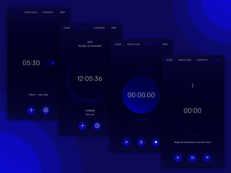 Clock App - UI design interface virtual second hour minute smartphone mobile digital software ux technology tech colorful alarm timer time clock ui design app