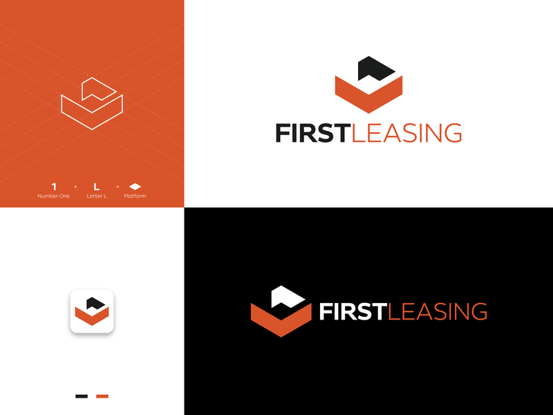 First Leasing Logo geometric arrowhead hexagonal first vehicle system financial car leasing leasing lease software platform square number one number 1 l letter letter l logo