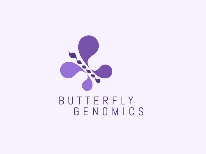 Butterfly purple violet genomics butterfly vector modern elegance minimal logo illustration flat icon design branding