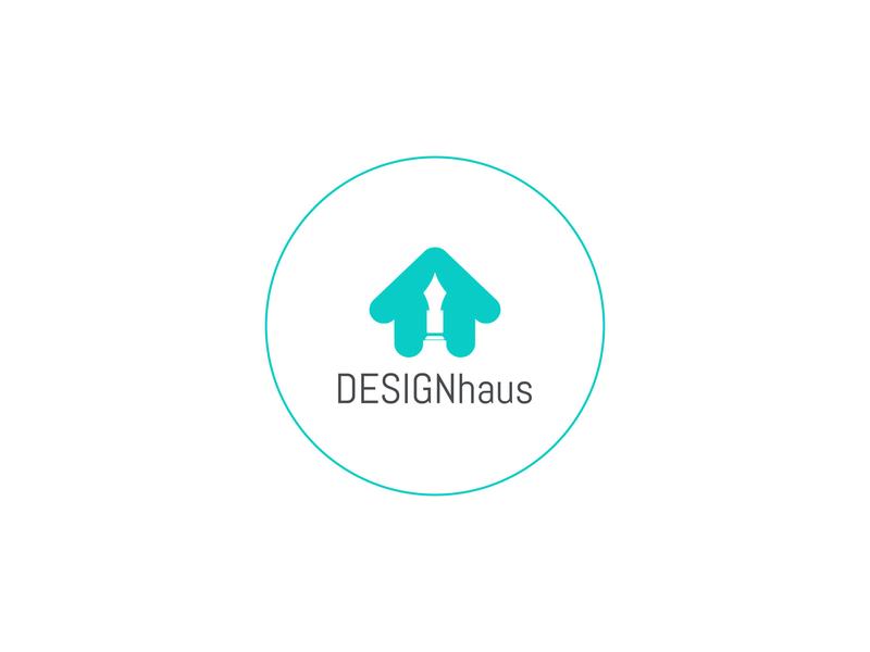 Design HOUSE creative circle house pen vector modern elegance minimal logo illustration icon flat design branding