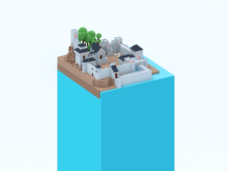 Weekend voxel isometric magicavoxel voxel castles