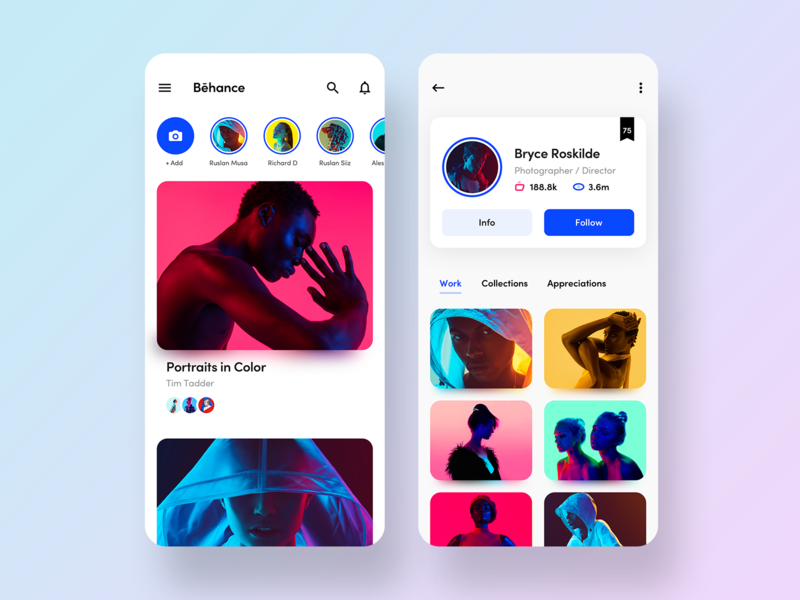 Behance Redesign Visual Concept ux ui icon profile home feed behance app  design