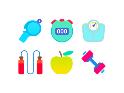 Fitness/Sport Icons. Part 2 jumprope whistle apple dumbbell scales stopwatch svg psd sport fitness flat freebie icon