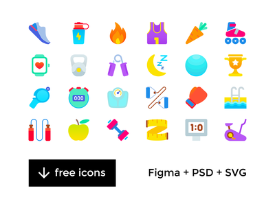 Fitness & Sport Freebie Icons vector iconset png free psd figma svg sport icon freebie flat fitness psd