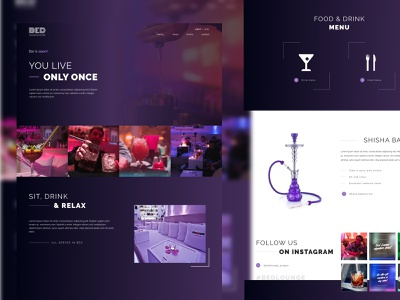 BedLounge - Landing page bar dark web design