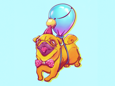 Pug party birthday pug pet sketching sketch illustration