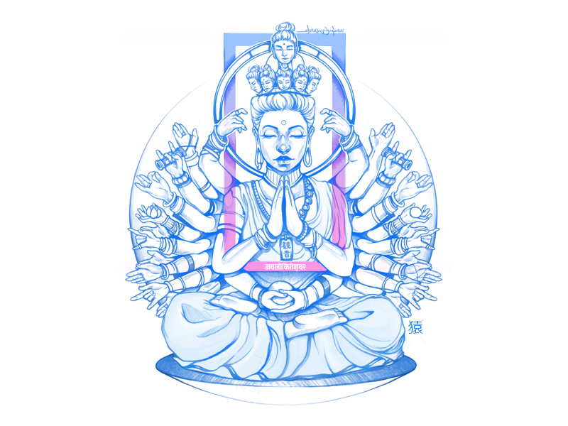 Kannon /Avalokiteśvara [अवलोकितेश्वर] myths goddess india buddhism mythology illustration
