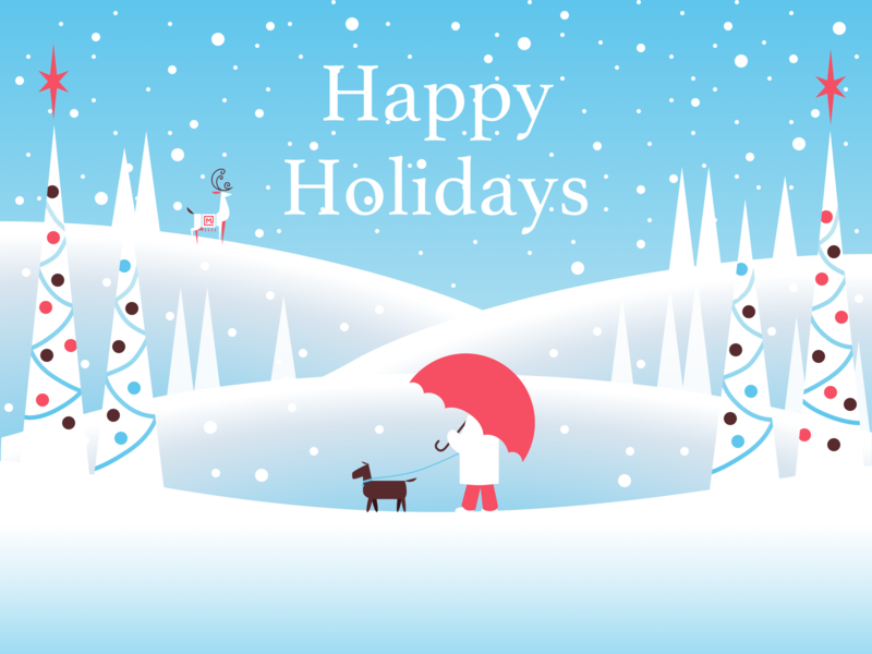 Friday freebie (the final one)! freebie fribbble nature reindeer dog trees snow winter christmas card christmas greeting card holiday card holiday illustration