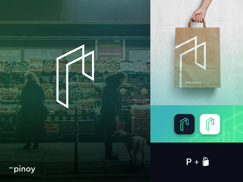 Pinoy grocery logo design web typography ui app icon illustration logo identity branding