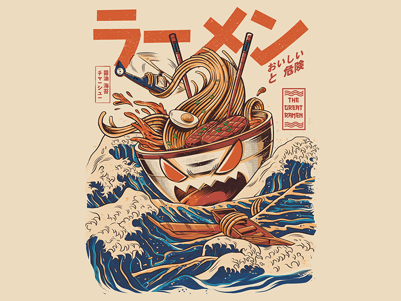Great Ramen of Kanagawa retro japanese japan t-shirt ilustração drawing design illustration