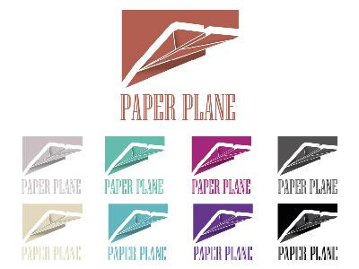Paper Plane color variation sketch line illustrator illustration design black plane challenge logo daily