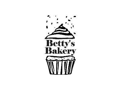 Cupcake daily betty backery sketch line illustrator illustration design black cupcake challenge logo