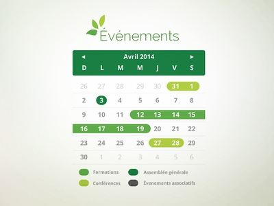Events Calendar calendar ui design web events flat natural fresh environment leaf