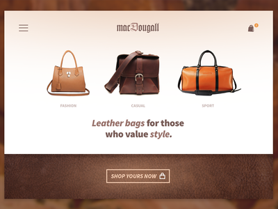 MacDougall - Leather bags store leather cta store page landing bags e-commerce shop