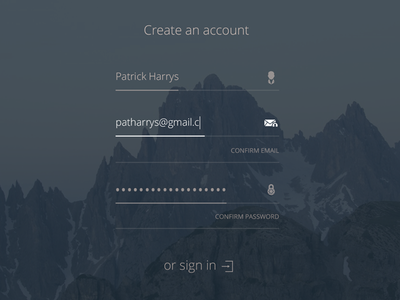 A sign up form icons email account create form in up sign