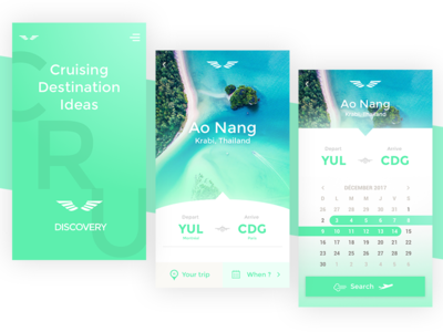 DailyUI - WarmUp! - Flight Search phone mobile app booking search calendar plane island beach flight