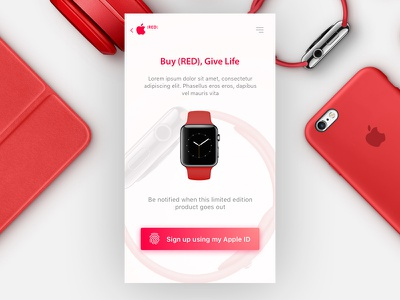 #dailyUI - 001 - Sign up page buy fingerprint app iphone page signup up sign red watch apple