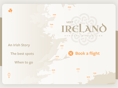 #dailyUI - 003 - Landing Page map scroll tourism irish page landing travel flight book ireland