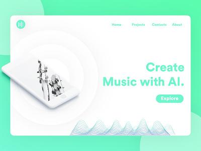 AI Music | Website Concept iphone website ai music