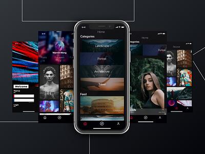 Photographer's Concept App UI design free download freebie photographer iphone x mobile dark app