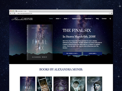 Alexandra Monir (YA Author Website) alexandra monir wordpress book author website books author young adult website design website