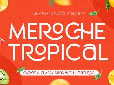 Meroche - Sweet & Classy Sans +EXTRA fresh design summer feminine design logo branding typography awesome title vector watercolor logofont packaging illustration poster font