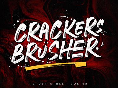Crackers Brusher mlkwsn illustration title typography design handbrush packaging awesome brush font logo logofont branding tshirt poster