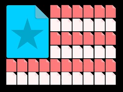 Unites states of files flat illustrator people files icons flag