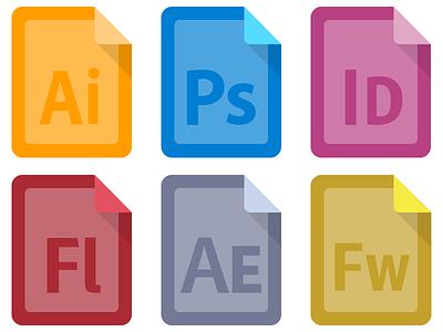 Adobe CS Icons - Draft flat illustrator photoshop indesign flash fireworks people files icons adobe cs5 cs6 after effects