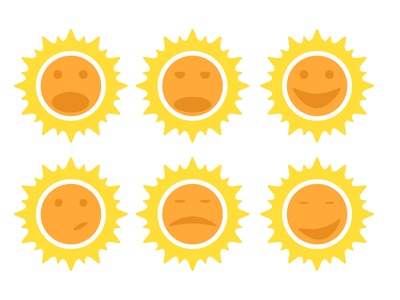 Sun Faces illustrator flat sun planets faces bed time