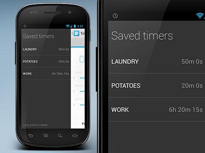 TimeSwipe 2.0 android timeswipe timer save sidemenu menu holo
