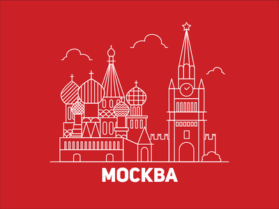 Moscow Landmarks illustration moskva russia moscow