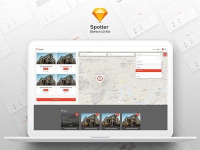 Spotter - Sketch UI Kit sketch app google maps property real estate pages listing directory ux ui sketch spotter