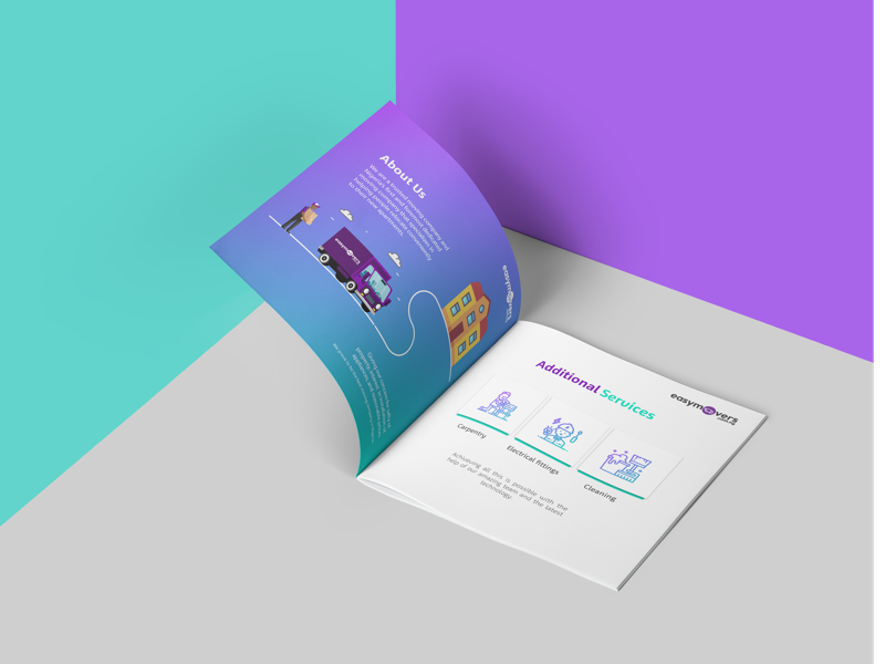 Brochure design for Easymovers teal purple cleaning design brochure