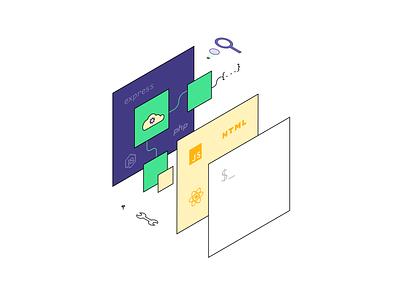 Full-stack icon design minimal ui flat exploded isometric microservices fullstack developer tech illustration