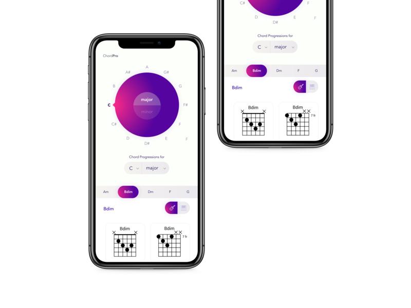 Chord Progression Generator App open source gradient branding webapp mobile first music guitar chord app illustration vector